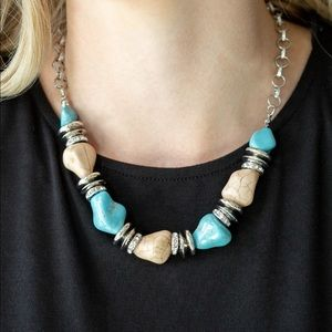 Earthy Turquoise & White Necklace Earring Set NWT